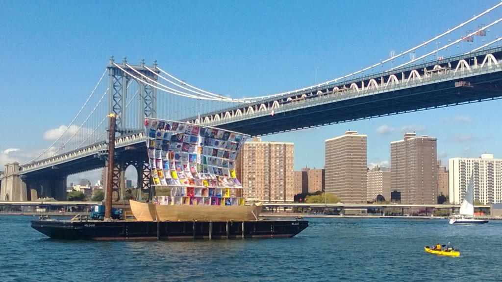 The Ship of Tolerance anchored in the East River, created for the 2012 Havana Biennial by renowned Russian-American Artists Illya and Emilia Kabakov with the assistance of the Ludwig Foundation of Cuba and AFLFC