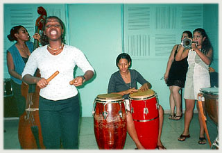 Students studying music at Instituto Superior de Arte (ISA) perform for guests of American Friends of the Ludwig Foundation of Cuba